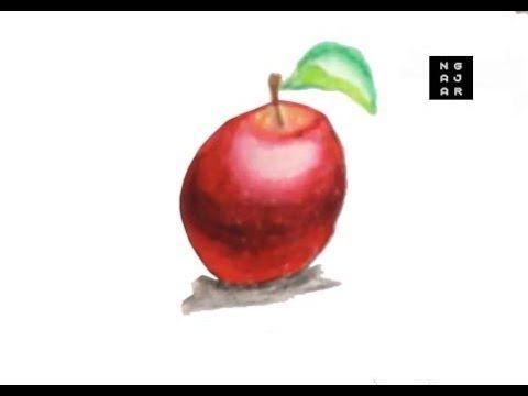 menggambar dan mewarnai buah apel dengan crayon