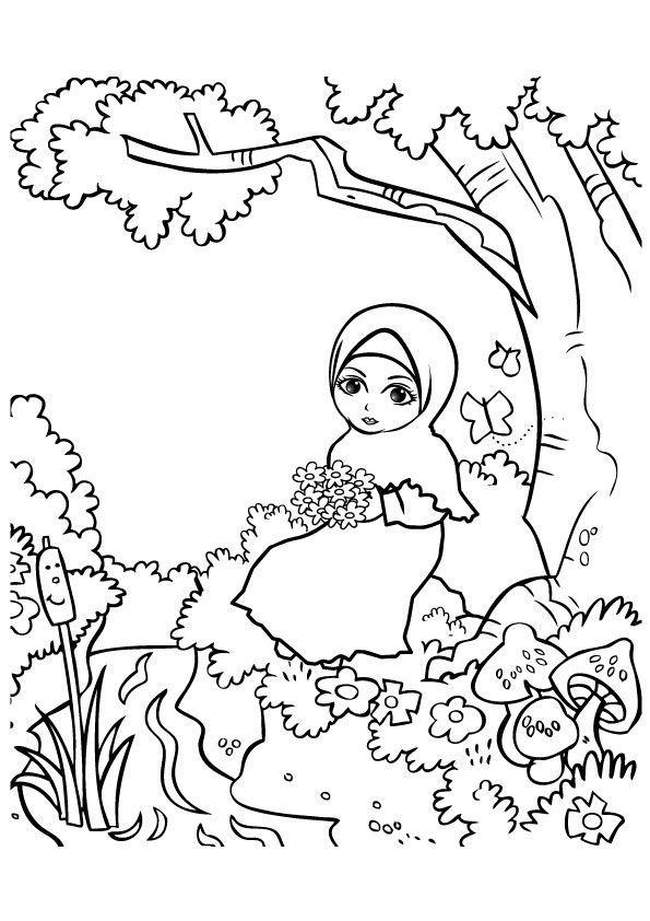 96 Gambar Kartun Muslimah Tanpa Warna Terbaru