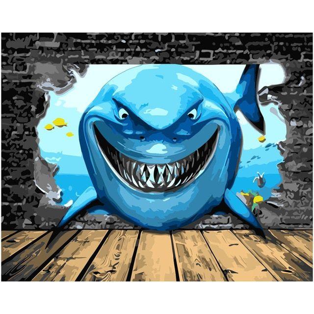 Gambar Ikan Untuk Mewarna Bernilai 3d Seascape Lukisan Ikan Hiu Biru Laut Bawah Air Cat Gambar Dengan