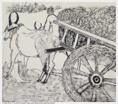 Gambar Lembu Untuk Mewarna Menarik Lukisan Kereta Lembu