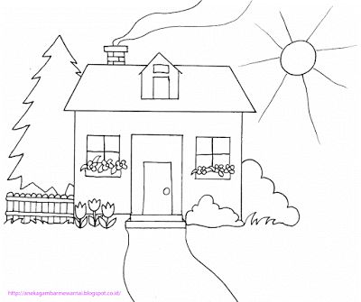 aneka gambar mewarnai gambar mewarnai rumah untuk anak paud dan tk pelajaran menggambar dan mew