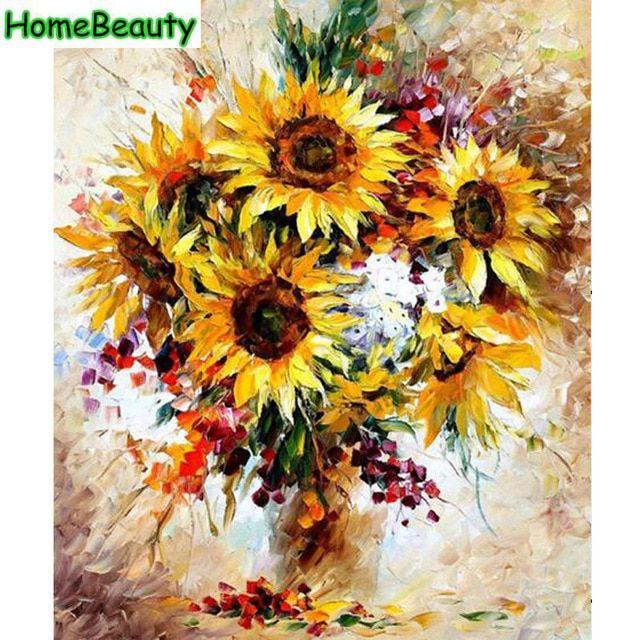 rumah kecantikan pigmen diy gambar dengan angka dinding kanvas lukisan minyak bunga matahari mewarnai dengan nomor