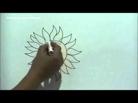 Gambar Mewarna Bunga Matahari Power Cara Mudah Menggambar Bunga Matahari Dari Huruf O Youtube