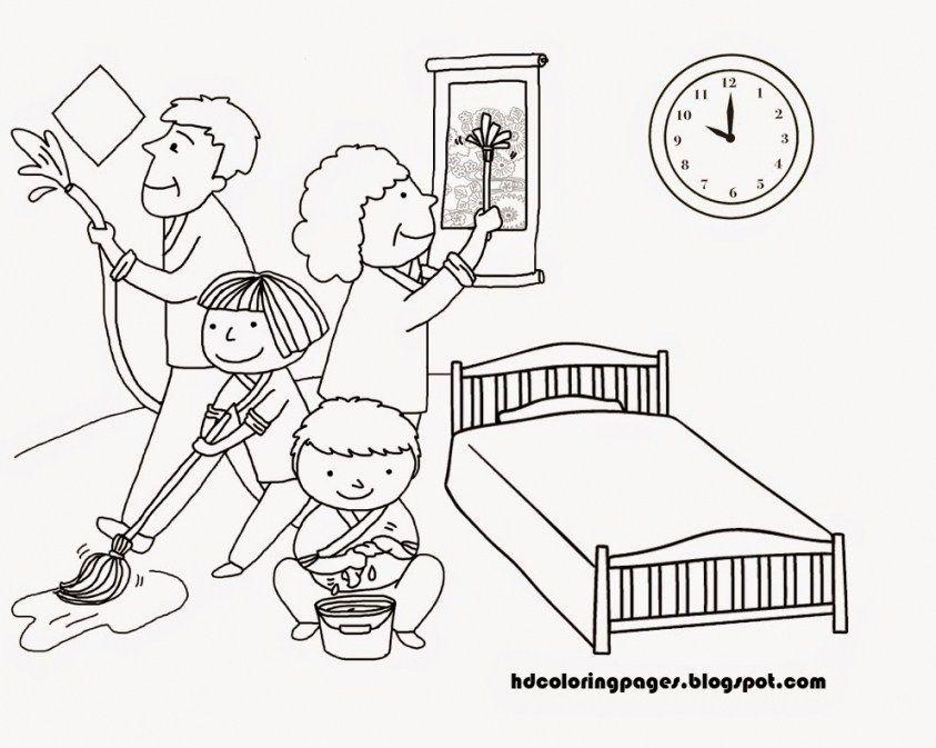 Gambar Mewarna Keluarga Bahagia Bernilai Contoh Gambar Kartun Foto Keluarga