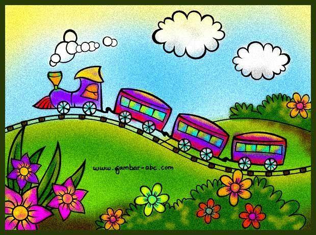 Gambar Mewarna Kereta Api Baik Contoh Gambar Mewarnai Kereta Api astuti Painting for Kids