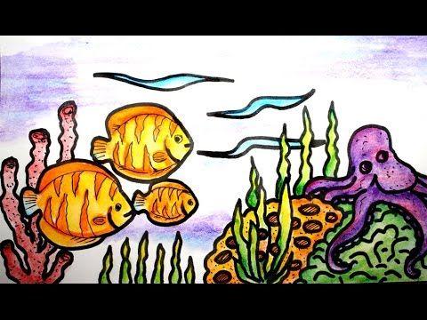 cara mudah menggambar pemandangan bawah laut