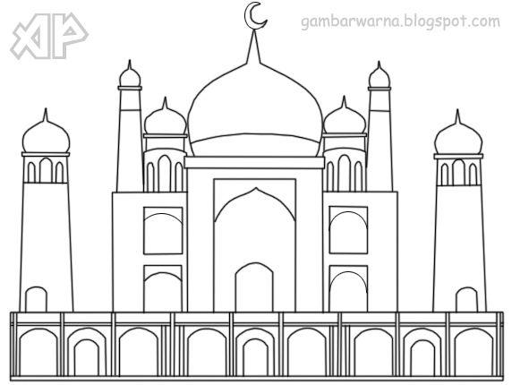 Download Bermacam Contoh Gambar Mewarna Masjid Yang Awesome Dan