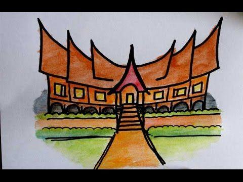 Gambar Mewarna Padang Sekolah Baik Belajar Menggambar Rumah Adat Minangkabau Untuk Anak Sd Youtube