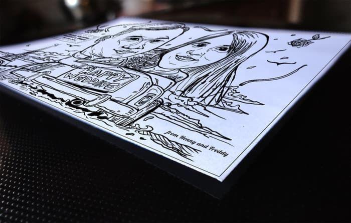 lukisan gambar karikatur untuk hadiah souvenir pernikahan