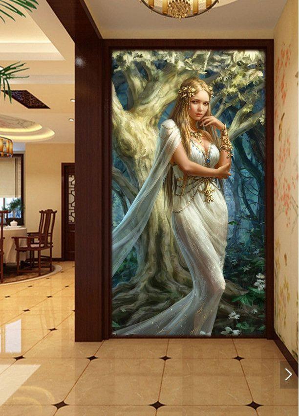 3d ruang wallpaper kustom mural non woven stiker dinding kecantikan dari wanita di hutan teras lukisan foto wallpaper untuk dinding 3d