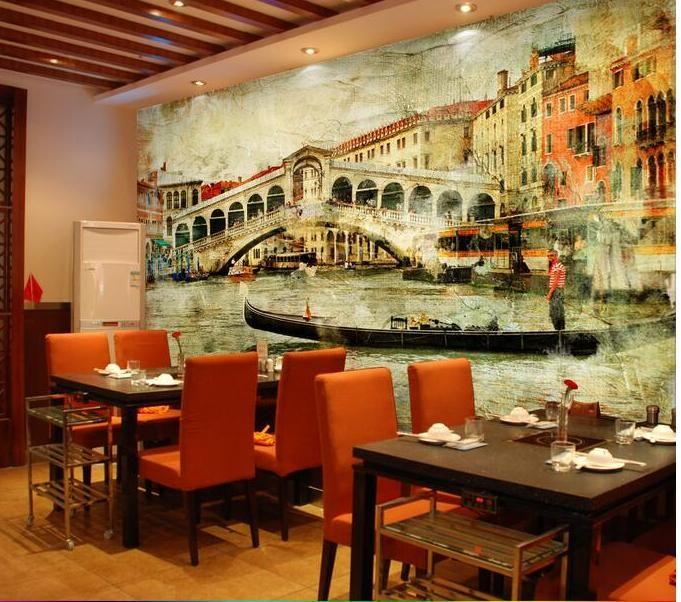3d wallpaper kustom foto non woven gambar vintage kota venice 3d dinding mural wallpaper untuk dinding dekorasi kamar lukisan