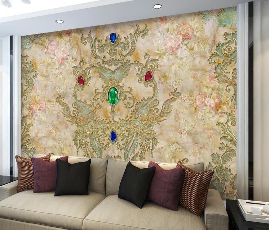kustom ukuran mural wallpaper eropa pola bantuan marmer wallpaper untuk tv latar belakang dinding mural kertas dinding