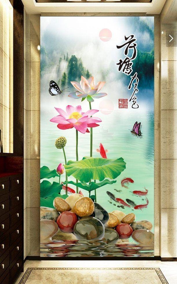 3d ruang wallpaper kustom mural non woven stiker dinding chinese lotus pond moonlight teras lukisan foto wallpaper untuk dinding 3d