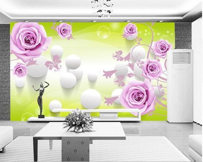 3d wallpaper kustom mural non woven 3d wallpaper kamar 3 d bola naik pola pengaturan dinding lukisan foto 3d dinding mural wallpaper