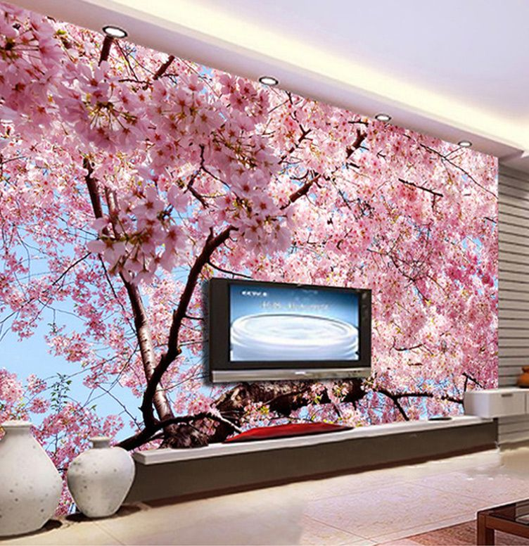 kustom ukuran 3d dinding mural romantis indah cherry blossom foto pemandangan lukisan dinding wallpaper ruang tamu restoran 3d dekorasi
