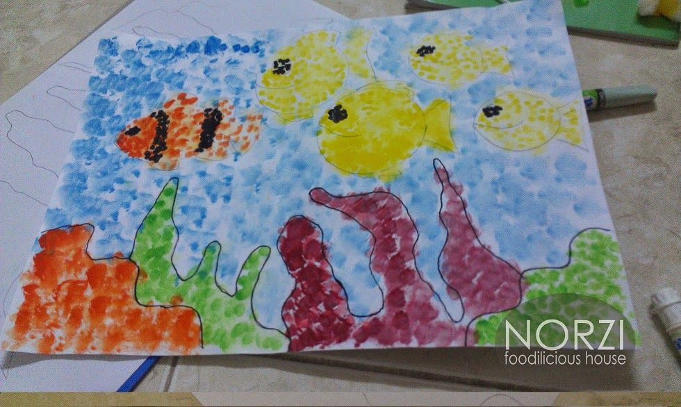 Kertas Lukisan Mewarna Ikan Power norzi Foodilicious House Lukisan Dasar Laut Teknik Capan