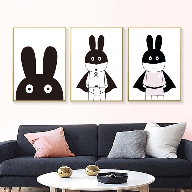 modern nordic hitam putih kelinci lucu a4 kanvas lukisan seni cetak poster dinding gambar untuk anak