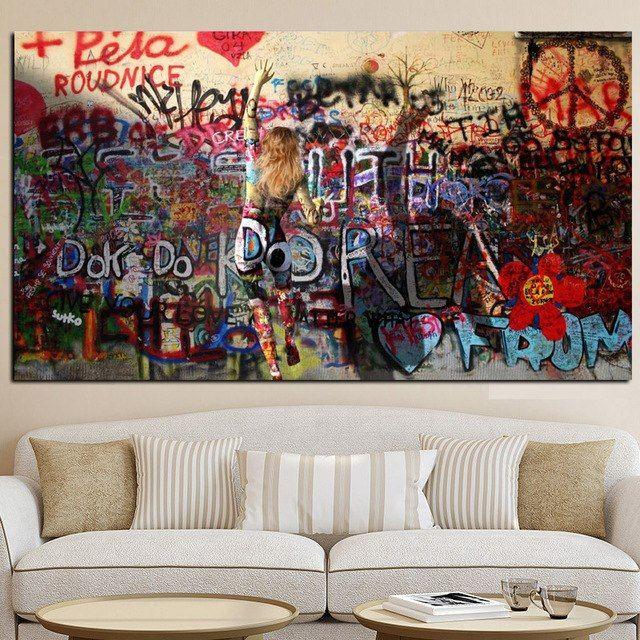 wanita graffiti di dinding abstrak kanvas lukisan poster dan cetak jalan pop art dinding gambar untuk