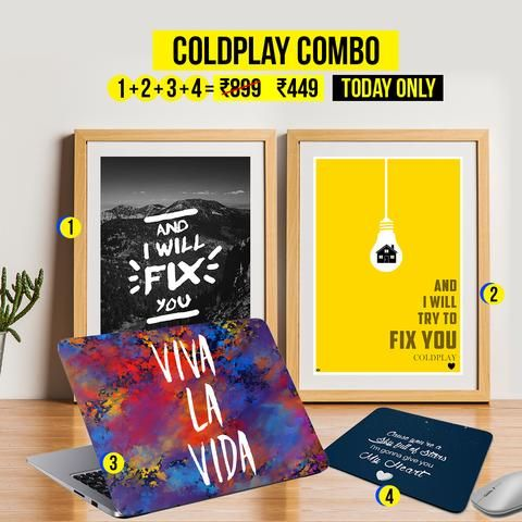 clearance carnival sale coldplay combo 2 posters 1 laptop skin 1 mousepad