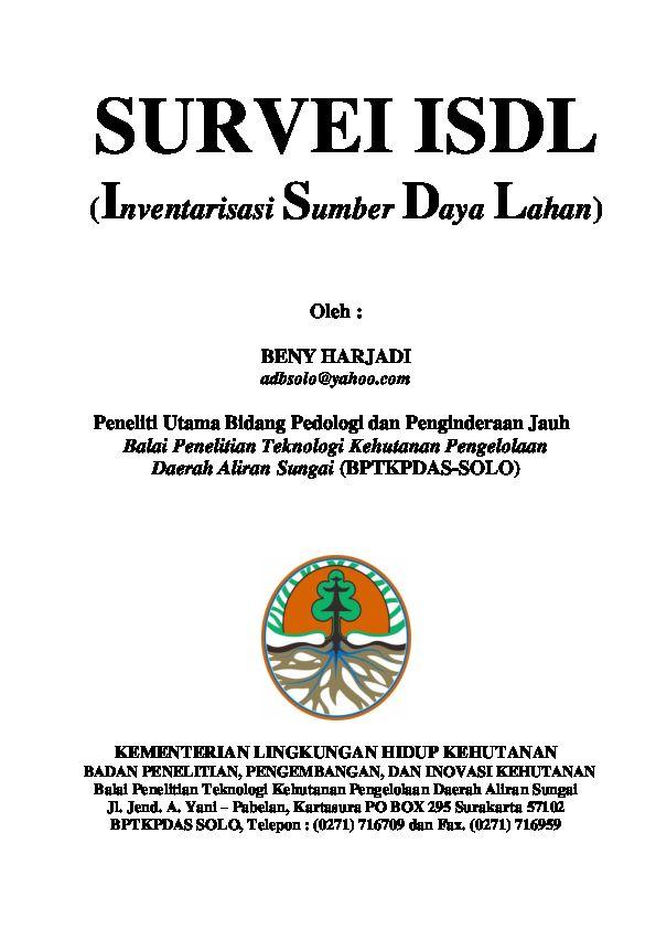 Poster Penghijauan Berguna Buku Survai isdl Inventarisasi Sumber Daya Lahan Beny Harjadi