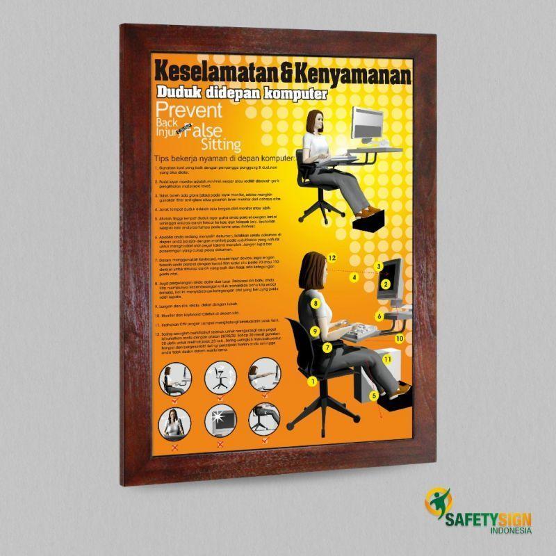 poster tema lingkungan menarik poster k3 keselamatan amp kenyamanan duduk di depan komputer versi 2