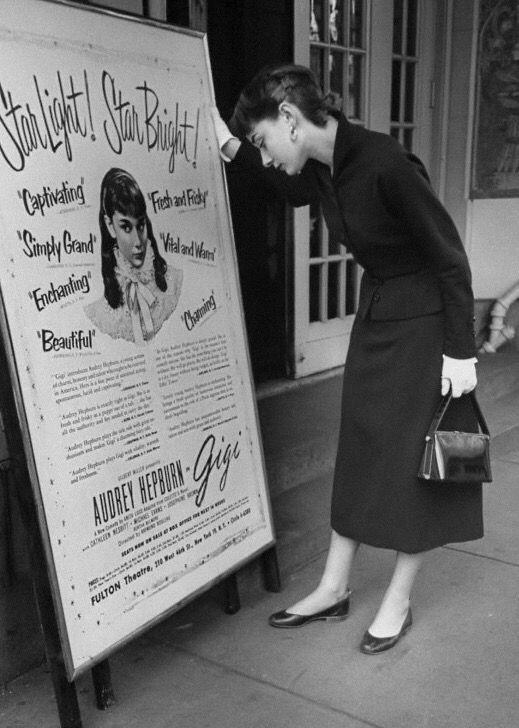 audreyhepburn in broadway front the poster of gigi 1951 audrey a audrey hepburn audrey hepburn photos audrey hepburn style