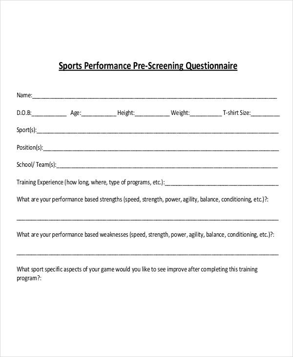 sports performance questionnaire
