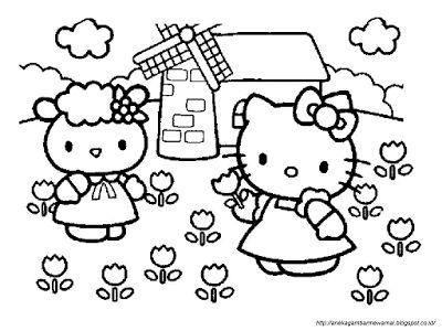 aneka gambar mewarnai gambar mewarnai hello kitty untuk anak paud dan tk pelajaran menggambar d