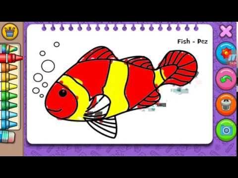 belajar mewarna gambar ikan fish