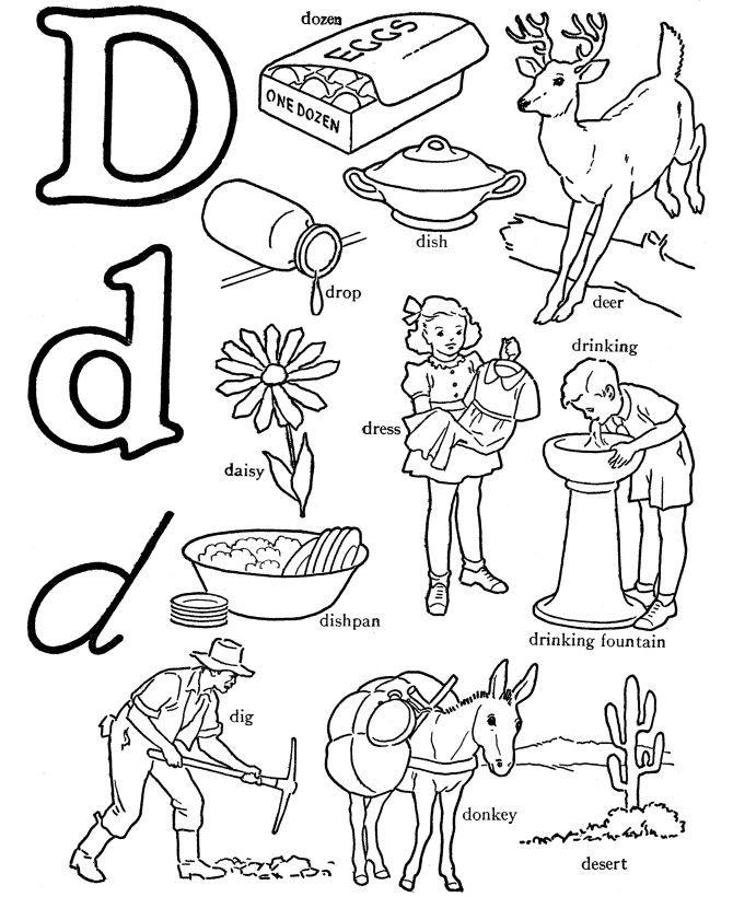 gambar mewarna huruf d