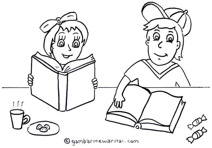 Gambar Mewarna Muslimah Meletup Mewarnai Gambar Anak Membaca Buku Gambar Mewarnai Unta Pinterest