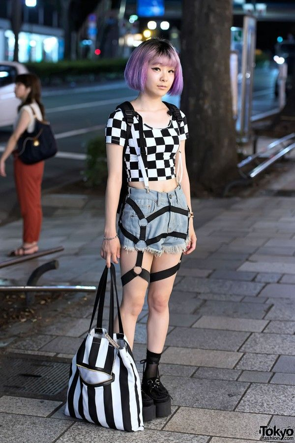 purple hair crop top harness crayon shin chan in harajuku