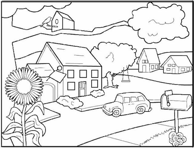 direct link gambar mewarna pemandangan di kawasan perumahan