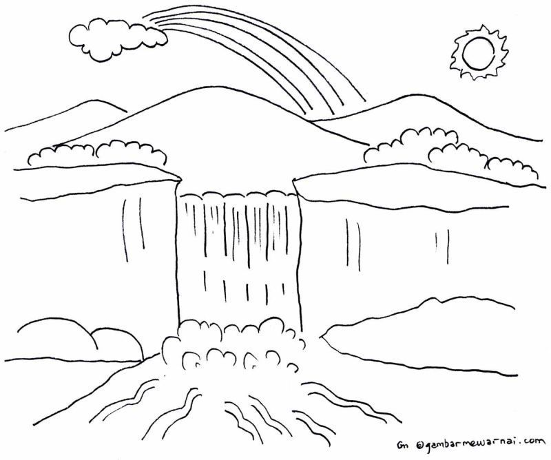 gambar mewarnai air terjun