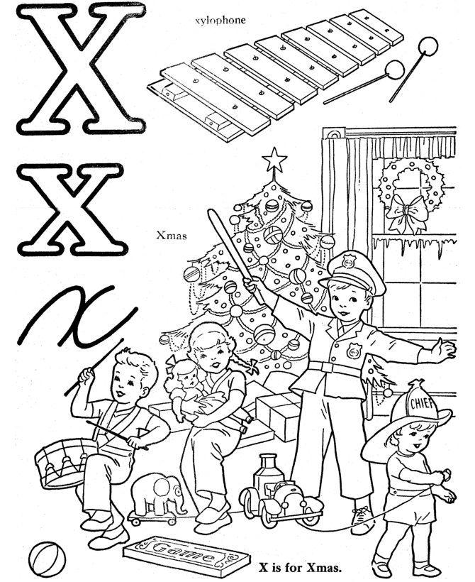 gambar mewarna huruf x