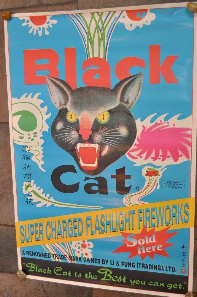 Harga Cat Poster Bermanfaat Rare Blue Vintage Li Fung Black Cat Firecrackers Poster 23x34
