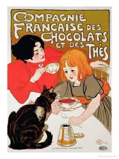 reproduction of a poster advertising the french company of chocolate and tea giclee print by theophile alexandre steinlen at allposters com