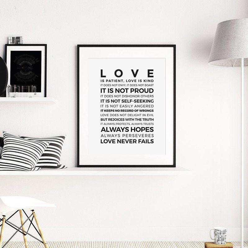cinta adalah pasien jenis cetakan poster rumah ruang tamu kamar ayat alkitab dinding seni lukisan kanvas christian cetak dekorasi rumah di painting