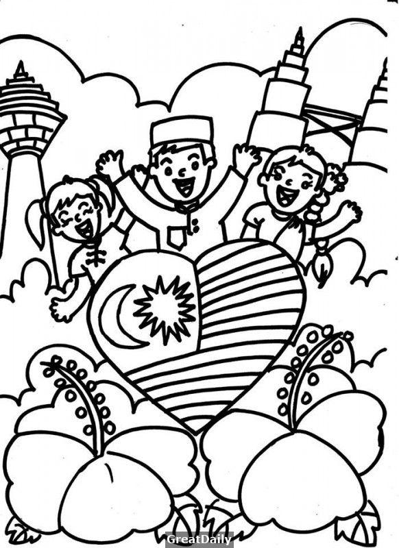 Kertas Lukisan Mewarna Hari Kanak-kanak Bernilai Mewarna Tema Kemerdekaan Merdeka Hari Malaysia Perpaduan Nota