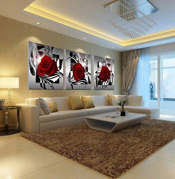 kertas lukisan mewarna rumah meletup a lukisan minyak bunga kerikil 3 piece art dekoratif dekorasi rumah