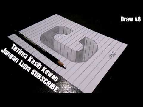 cara gambar huruf c 3d di atas kertas bergaris