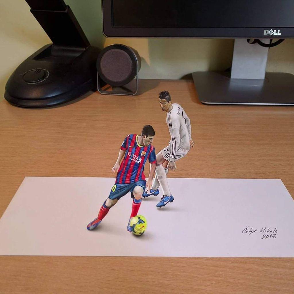 pelukis gambar 3d antara ronaldo vs messi di atas adalah nikola culjic seniman lukis asal