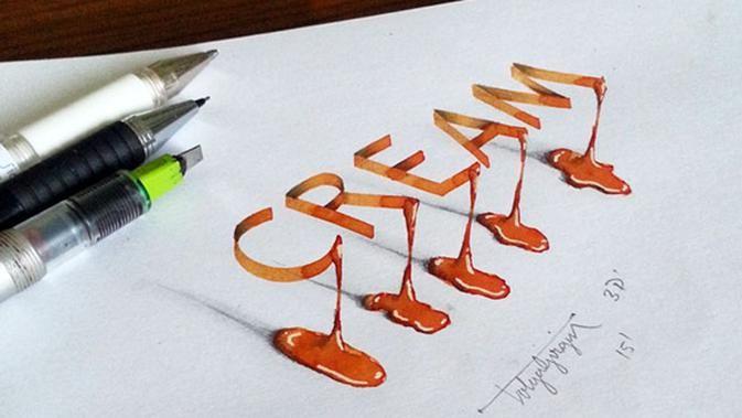seakan timbul tulisan 3d cat air ini hanya dibuat di atas kertas lho fashion fimela com