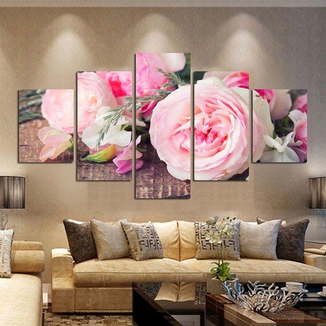 gratis pengiriman kanvas dicetak lukisan bunga mawar hadiah menghias kamar tidur hotel art latar belakang dinding