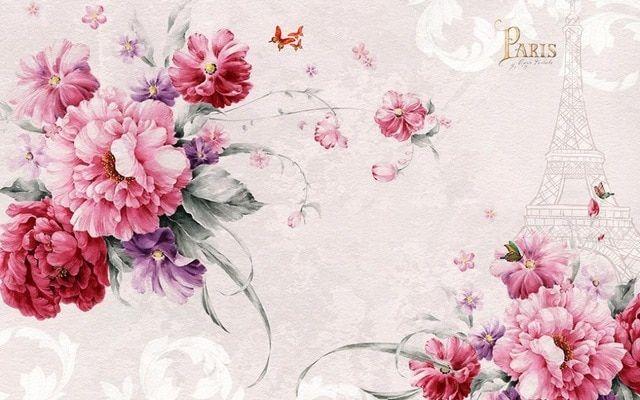 eropa 3d wallpaper mural bunga wallpaper untuk dinding romantis paris menara 3d wallpaper lukisan papel de