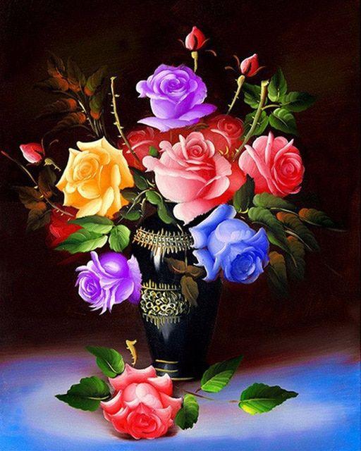 Lukisan Bunga Kertas Bernilai Berlian Lukisan Bunga Mawar Bordir Dengan Berlian Diy 5d Vas Diamant