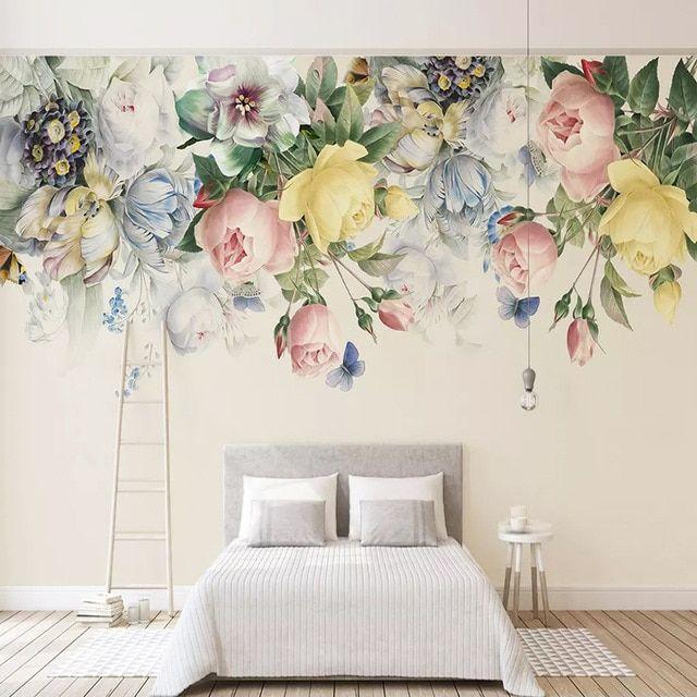 Lukisan Bunga Kertas Hebat Foto Kustom Wallpaper 3d Bunga Lukisan Mural Ruang Tamu Kamar Tidur