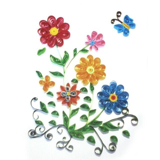 3d warna warni bunga model kertas quilling dilipat lukisan kerajinan untuk anak anak diy