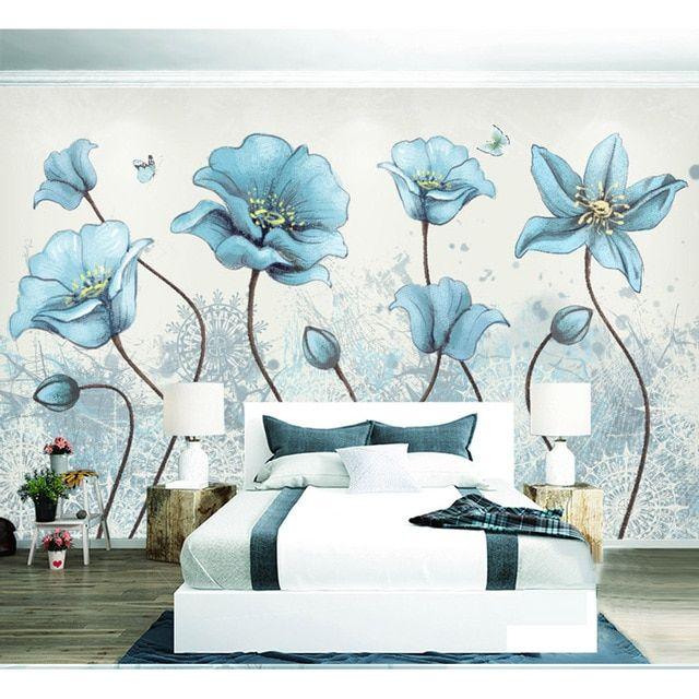 Lukisan Bunga Kertas Power Dicat Biru Bunga Wallpaper Lukisan Dinding Dekorasi Rumah Dinding
