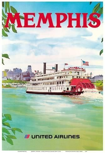 art print memphis tennessee united airlines mississippi river paddlewheel boat by michael hagel 1